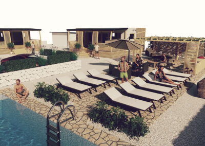 Boutique glamping Ante-Gojko drone view